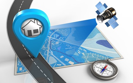 3d illustration of blue map with home point and compass Stock Photo