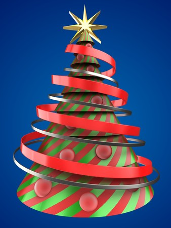 bola ocho: 3d illustration of Christmas tree shape over blue background with red balls