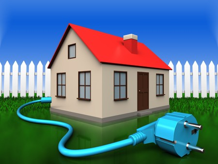 3d illustration of house with cable over grass and fence background