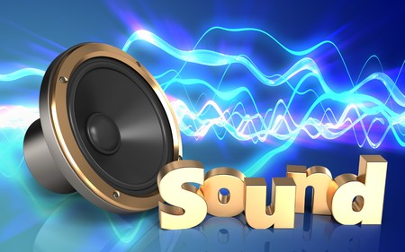 3d illustration of loud speaker over sound waves blue background with sound sign Stock Photo