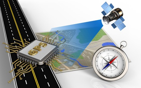 3d illustration of map with gps chip and compass Stock Photo