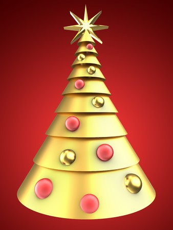 8 ball: 3d illustration of golden Christmas tree over red background with balls