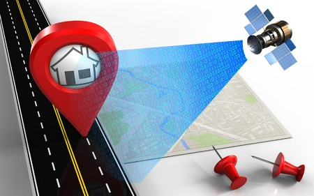 3d illustration of bright map with home pin and red pins