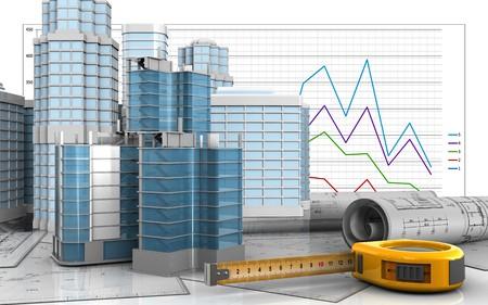 사업 그래프 배경 위에 도시 장면으로 도시 분기 건설의 3d 일러스트