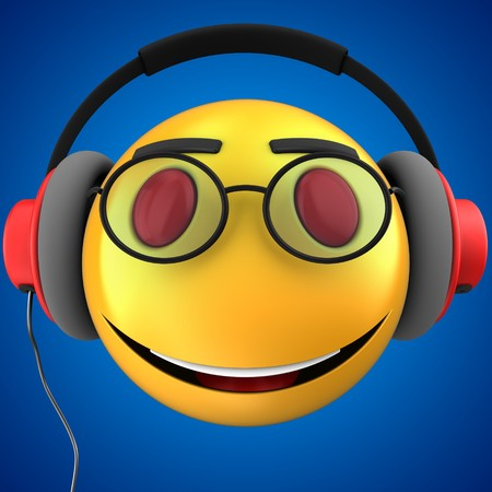 3d illustration of yellow emoticon smile with red headphones over blue background Stock Photo