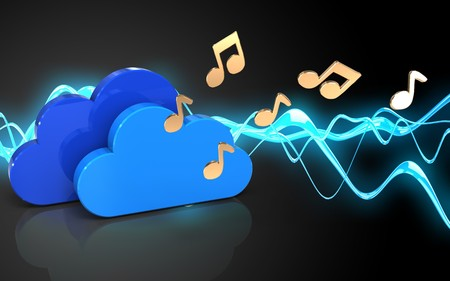 cyan business: 3d illustration of clouds over sound wave black background with notes