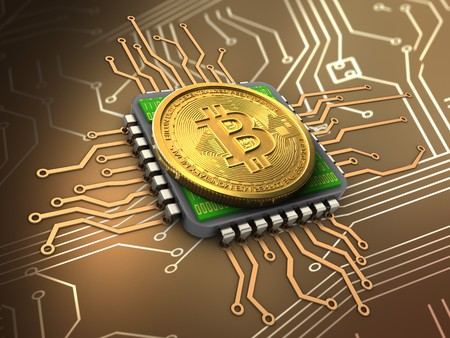 3d illustration of bitcoin over circuit background with cpu Stock Photo