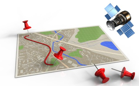 3d illustration of map with pins and route and gps satellite Stock Photo