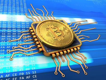3d illustration of bitcoin over cyber background with cpu gold