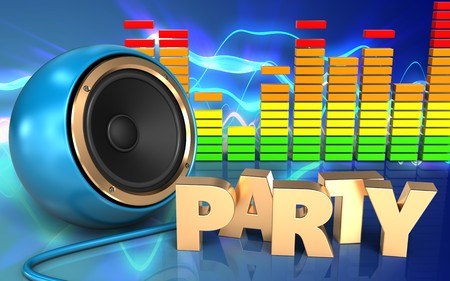 3d illustration of blue sound speaker over sound waves blue background with party sign