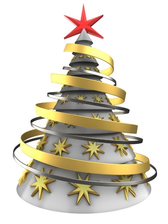 chrome: 3d illustration of white Christmas tree over white background with decoration