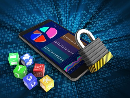 3d illustration of mobile phone over digital background with cubes and iron lock