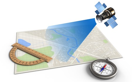 3d illustration of bright map with protractor and satellite