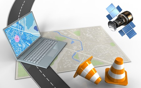 3d illustration of bright map with computer and repair cones
