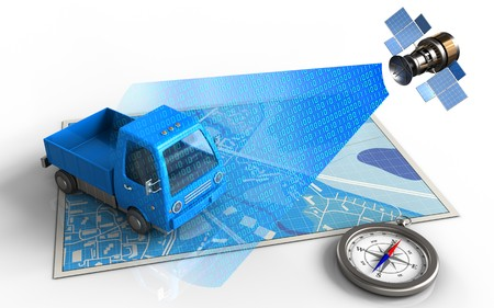 3d illustration of blue map with truck and satellite digital signal Stock Photo