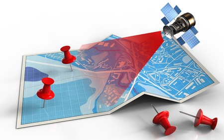 3d illustration of city map with red pins and satellite