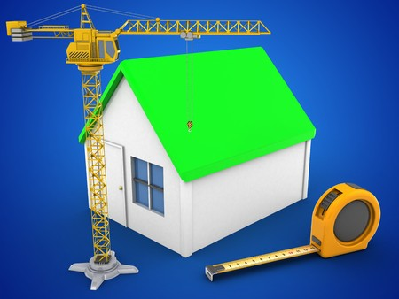 heavy industry: 3d illustration of simple house over blue background with ruler and crane Stock Photo