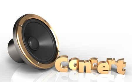 3d illustration of loud speaker over white background with concert sign Stock Photo