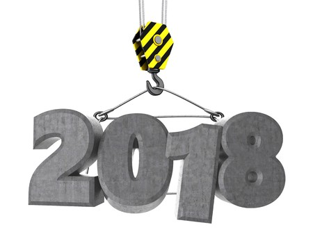 3d illustration of 2018 sign with crane hook over white background