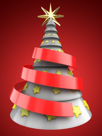 3d illustration of white Christmas tree over red background with yellow stars ornament