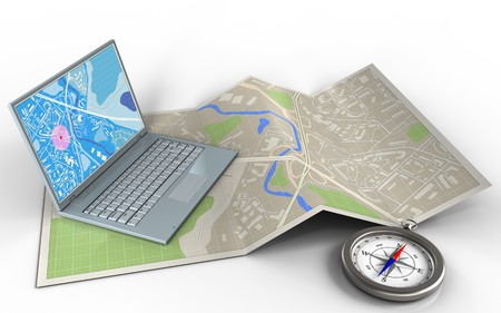 3d illustration of map paper with computer and