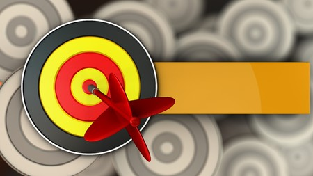 3d illustration of round target with dart over multiple targets background