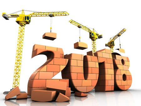 3d illustration of cranes building bricks 2018 text over white background 版權商用圖片