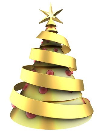 new: 3d illustration of golden Christmas tree over white background with red balls Stock Photo