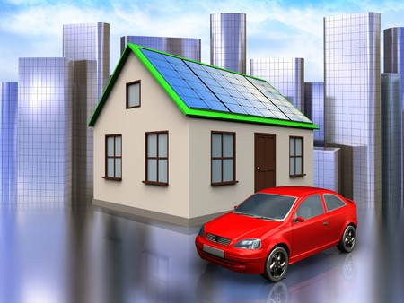 3d illustration of home with solar panel with car over city background