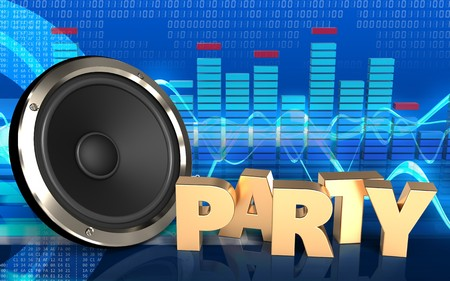 3d illustration of  over cyber background with party sign Stock Photo