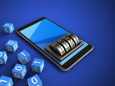 pin code: 3d illustration of mobile phone over blue background with binary cubes and lock dial