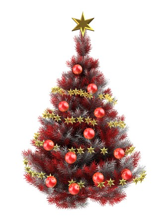 3d illustration of red Christmas tree over white with Stock Photo
