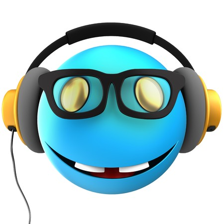 3d illustration of blue emoticon smile with yellow headphones over white background