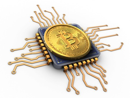pc: 3d illustration of bitcoin over white background with cpu