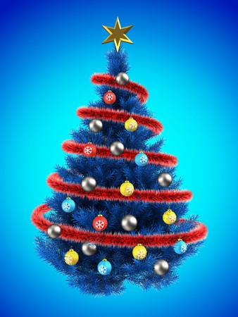 gray gradient reflection: 3d illustration of blue Christmas tree over blue with colorful balls and frippery red Stock Photo