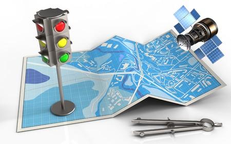 3d illustratie van stads kaart met verkeerslicht en cirkel gereedschap