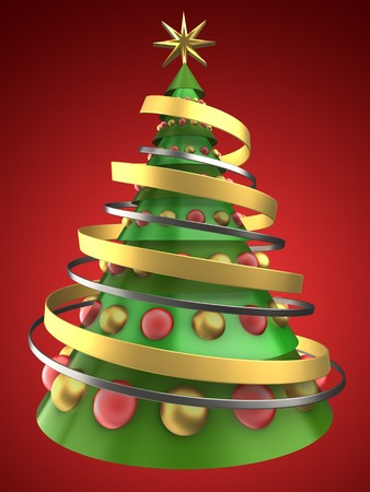 bola ocho: 3d illustration of Christmas tree over red background with glass balls Foto de archivo