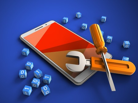 3d illustration of white phone over blue background with binary cubes and repair tools Standard-Bild