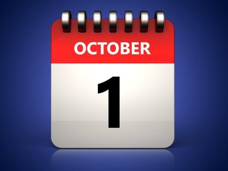 3d illustration of 1 october calendar over blue background