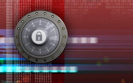 3d illustration of combination lock  over digital red background