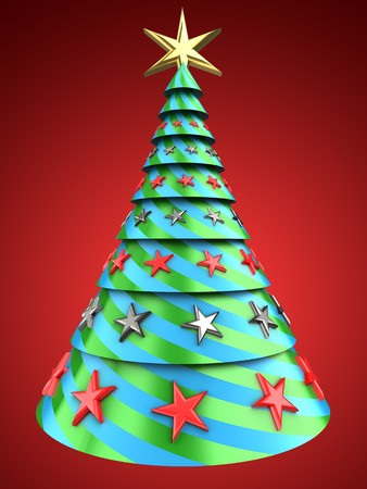 3d illustration of Christmas tree over red background with stars decoration Stock Photo
