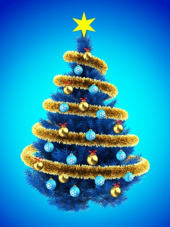 3d illustration of blue Christmas tree over blue with blue balls and frippery
