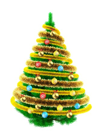 3d illustration of green Christmas tree over white with colorful balls and frippery