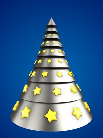 steel: 3d illustration of metal Christmas tree over blue background with