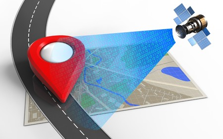3d illustration of map with point icon and