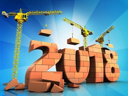 3d illustration of cranes building bricks 2018 text over  background
