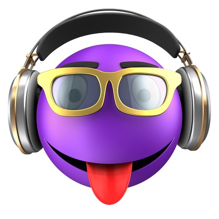 3d illustration of violet emoticon smile with headphones over white background