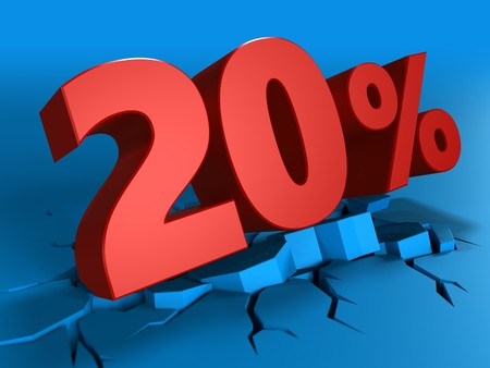 3d illustration of 20 percent discount over blue background Stock Photo