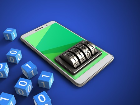 3d illustration of white phone over blue background with binary cubes and lock dial
