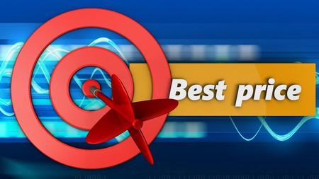 3d illustration of target circles with best price sign over blue waves background